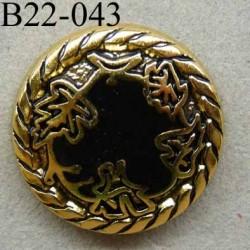 bouton 22 mm pvc imitation métal couleur doré et noir accroche un anneau