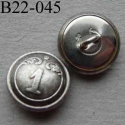 bouton métal 22 mm haut de gamme style ancien couleur acier patiné  inscription chiffre 1 accroche un anneau