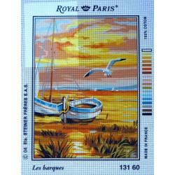 canevas 30X40 marque ROYAL PARIS thème les barques dimension 30 centimètres par 40 centimètres 100 % coton