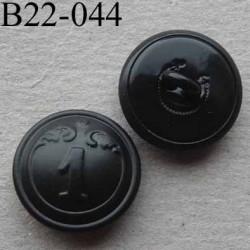 bouton métal 22 mm haut de gamme style ancien couleur noir inscription chiffre 1 accroche un anneau