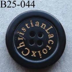 bouton 25 mm haut de gamme siglé CHRISTIAN LACROIX couleur noir 4 trous