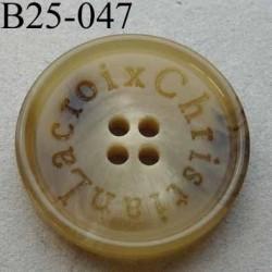 bouton 25 mm haut de gamme siglé CHRISTIAN LACROIX couleur beige écru marbré 4 trous