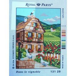 canevas 30X40 marque ROYAL PARIS thème le vignoble dimension 30 centimètres par 40 centimètres 100 % coton