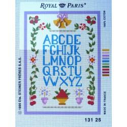 canevas 30X40 marque ROYAL PARIS thème abécédaire dimension 30 centimètres par 40 centimètres 100 % coton