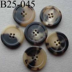 bouton 25 mm haut de gamme couleur marron beige translucide marbré 4 trous vendu à l'unité