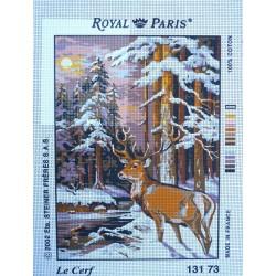 canevas 30X40 marque ROYAL PARIS thème le cerf dimension 30 centimètres par 40 centimètres 100 % coton
