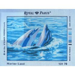 canevas 30X40 marque ROYAL PARIS thème marine land dimension 30 centimètres par 40 centimètres 100 % coton