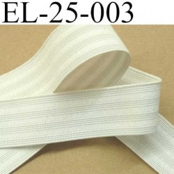 élastique plat fronceur largeur 25 mm couleur blanc prix au mètre