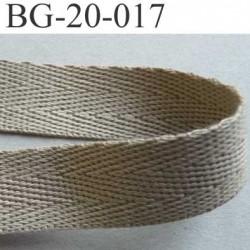 sangle biais ruban a plat 100% coton couleur mastic beige kaki clair largeur 2 cm épaisseur 1.8 mm solide prix au mètre