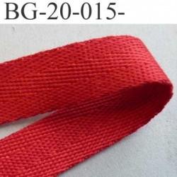 sangle biais ruban a plat 100% coton couleur rouge largeur 2 cm épaisseur 1.8 mm solide prix au mètre