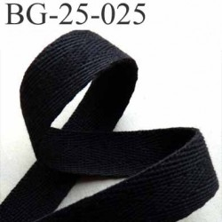 sangle biais ruban a plat 100% coton couleur noir largeur 2.5 cm épaisseur 1.8 mm solide prix au mètre