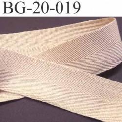 ganse ruban renfort ou biais 100% coton couleur beige sable largeur 2 cm superbe et souple et doux solide prix au mètre