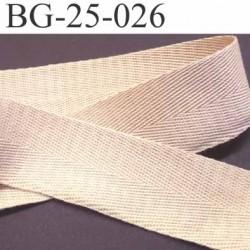ganse ruban renfort ou biais 100% coton couleur écru sable largeur 2.5 cm superbe souple et doux solide prix au mètre