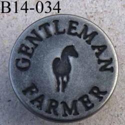 Bouton pour jeans 14 mm haut de gamme siglé Gentleman Farmer en métal diamètre 14 mm couleur acier avec le clou superbe