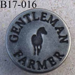 Bouton pour jeans 14 mm haut de gamme siglé Gentleman Farmer en métal couleur acier avec le clou diamètre 17 millimètre superbe