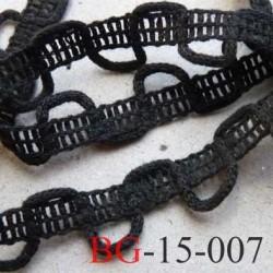 dentelle biais galon boutonnière galon coton made in france  largeur 15 mm couleur noir le mètre