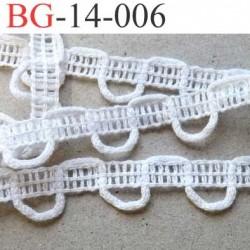 dentelle biais galon boutonnière galon 100 % coton made in france  largeur 14 mm couleur blanc prix au mètre