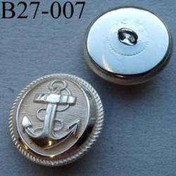 bouton métal 27 mm haut de gamme couleur argenté décoration ancre marine accroche un anneau