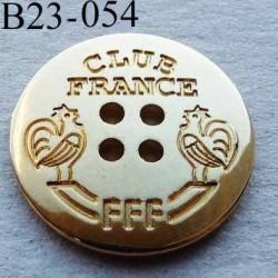 bouton métal collector 23 mm haut de gamme CLUB FRANCE FFF couleur doré 4 trous