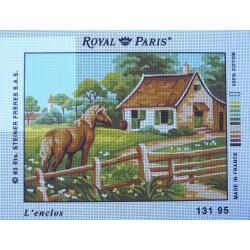 canevas 30X40 marque ROYAL PARIS thème cheval l'enclos dimennsion 30 centimètres par 40 centimètres 100 % coton