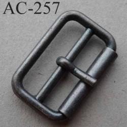 Boucle rectangle en métal couleur acier patiné à ardillon tige avec cran 12 mm largeur extérieur 31 mm