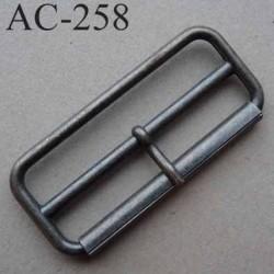 Boucle rectangle en métal couleur acier patiné à ardillon tige avec cran 14 mm largeur extérieur 57 mm