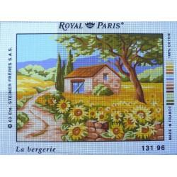 canevas 30X40 marque ROYAL PARIS thème campagne la bergerie dimennsion 30 centimètres par 40 centimètres 100 % coton