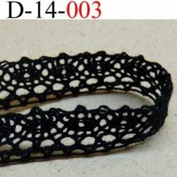 dentelle crochet 100% coton largeur 14 mm couleur noir provient d'une ancienne mercerie parisienne prix au mètre