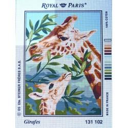 canevas 30X40 marque ROYAL PARIS thème girafes dimennsion 30 centimètres par 40 centimètres 100 % coton