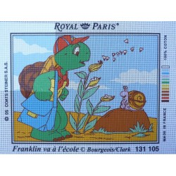 canevas 30X40 marque ROYAL PARIS thème franklin va a l'école dimension 30 centimètres par 40 centimètres 100 % coton