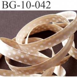 biais plié largeur 10 mm 2 rebords plié de 10 mm plus 2 rebords de 4 mm couleur beige doré brillant et point blanc synthétique