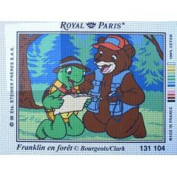 canevas 30X40 marque ROYAL PARIS thème franklin en forêt dimension 30 centimètres par 40 centimètres 100 % coton