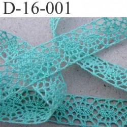dentelle crochet ancienne 100% coton largeur 16 mm couleur vert lagon provient d'une vieille mercerie parisienne prix au mètre