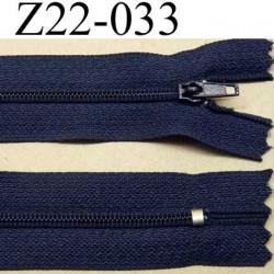 fermeture zip à glissière longueur 22 cm couleur bleu marine non séparable zip nylon largeur 2.5 cm largeur du zip 4 mm