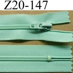 fermeture zip à glissière longueur 20 cm couleur vert lagon non séparable zip nylon largeur 2.5 cm largeur du zip 4 mm