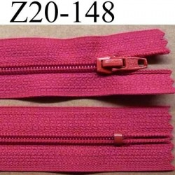 fermeture zip à glissière longueur 20 cm couleur rose fushia non séparable zip nylon largeur 2.5 cm largeur du zip 4 mm