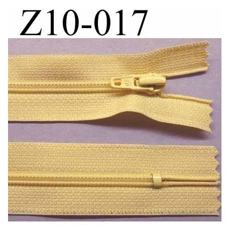 fermeture zip à glissière  longueur 10 cm couleur jaune non séparable largeur 2.5 cm glissière nylon largeur du zip 4 mm