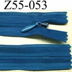 fermeture zip à glissière invisible longueur 55 cm couleur bleu non séparable largeur 2.5 cm glissière largeur 4.2 mm