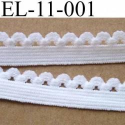 élastique picot dentelle plat largeur 11 mm couleur blanc  largeur de la bande 7 mm largeur de la dentelle boucle 4 mm