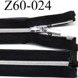 fermeture zip invisible longueur 60 cm  noir séparable zip nylon largeur 2.5 cm largeur du zip 4 mm couleur argent brillant