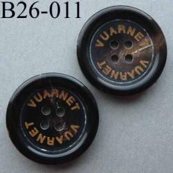 bouton 26 mm haut de gamme siglé VUARNET couleur marron trés foncé dégradé 4 trous