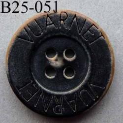 bouton 25 mm haut de gamme siglé VUARNET couleur noir imitation vieux bouton usé 4 trous
