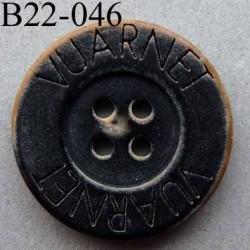 bouton 22 mm haut de gamme siglé VUARNET couleur noir imitation vieux bouton usé 4 trous