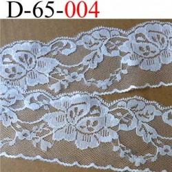 dentelle synthétique motif fleur couleur blanc largeur 65 mm prix au mètre