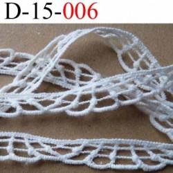 dentelle crochet coton couleur blanc  largeur 15  mm vendu au mètre