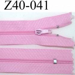 fermeture zip à glissière longueur 40 cm couleur rose non séparable largeur 2.5 cm zip glissière nylon largeur du zip 4 mm