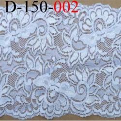 dentelle blanche superbe largeur 150 mm lycra élastique couleur blanc reflet brillant prix au mètre