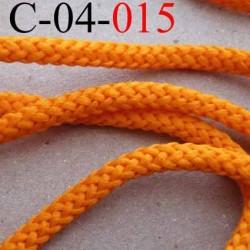 cordon en synthétique très doux couleur orange lumineux diamètre 4 mm prix au mètre