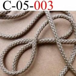 cordon synthétique et coton souple très très solide couleur marron taupe clair kaki diamètre 5 mm prix au mètre