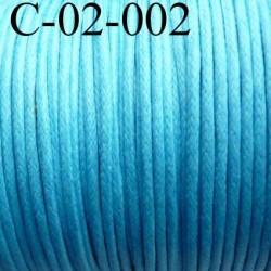 cordon 100% coton ciré couleur bleu turquoise diamètre 2 mm prix au mètre